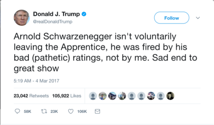 Trump Tweets about Apprentice and Schwarzenegger